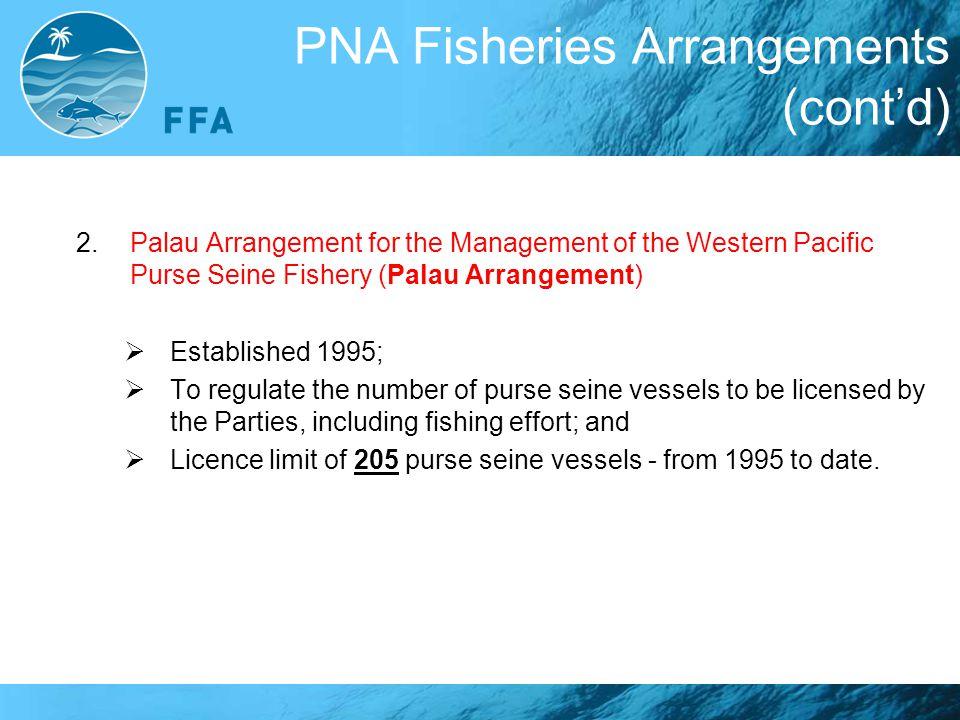 PNA Fisheries Arrangements (cont'd) 2.Palau Arrangement for the Management of the Western Pacific Purse Seine Fishery (Palau Arrangement)  Establishe