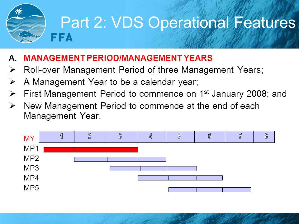 Part 2: VDS Operational Features A.MANAGEMENT PERIOD/MANAGEMENT YEARS  Roll-over Management Period of three Management Years;  A Management Year to