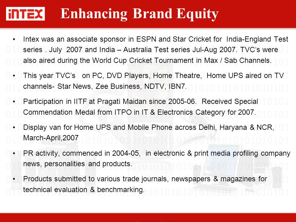 Intex was an associate sponsor in ESPN and Star Cricket for India-England Test series. July 2007 and India – Australia Test series Jul-Aug 2007. TVC's