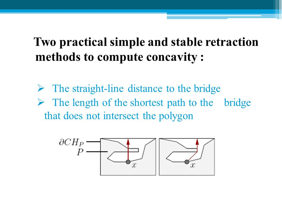 Two practical simple and stable retraction methods to compute concavity :  The straight-line distance to the bridge  The length of the shortest path