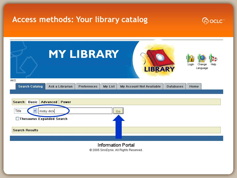 Access methods: Your library catalog