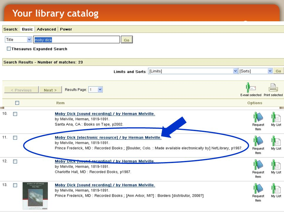 Your library catalog
