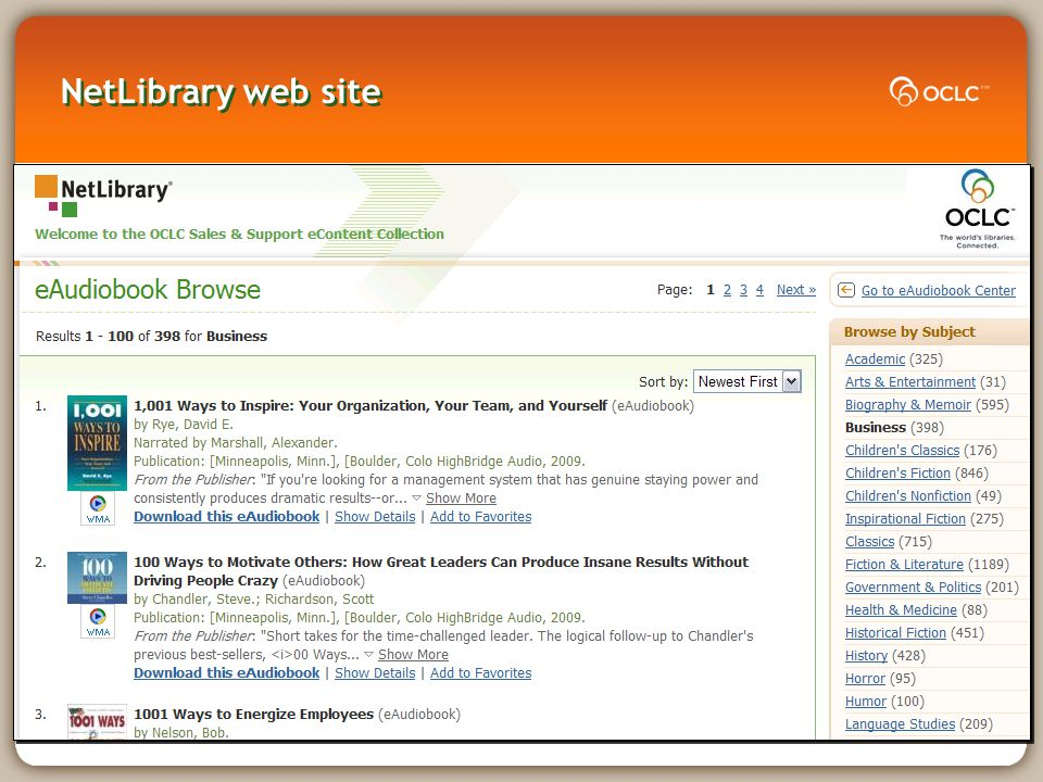 NetLibrary web site