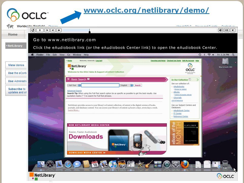 Online Demos www.oclc.org/netlibrary/demo/