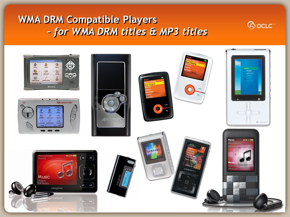 WMA DRM Compatible Players – for WMA DRM titles & MP3 titles