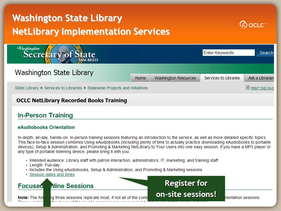 Register for on-site sessions!
