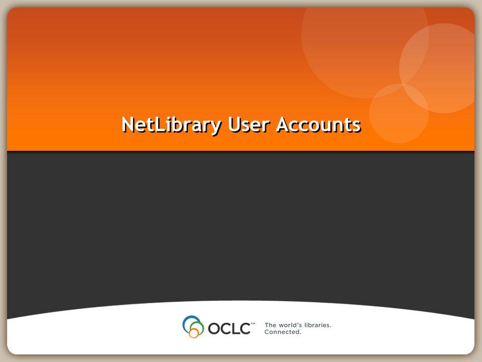 NetLibrary User Accounts