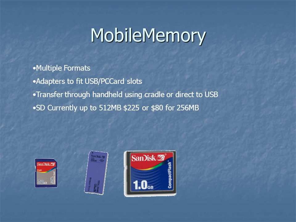 MobileMemory Multiple Formats Adapters to fit USB/PCCard slots Transfer through handheld using cradle or direct to USB SD Currently up to 512MB $225 o