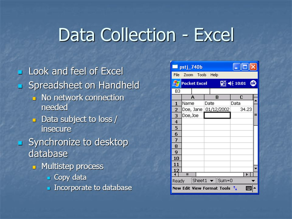 Data Collection - Excel Look and feel of Excel Look and feel of Excel Spreadsheet on Handheld Spreadsheet on Handheld No network connection needed No network connection needed Data subject to loss / insecure Data subject to loss / insecure Synchronize to desktop database Synchronize to desktop database Multistep process Multistep process Copy data Copy data Incorporate to database Incorporate to database
