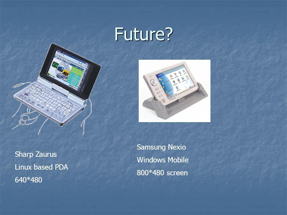Future Sharp Zaurus Linux based PDA 640*480 Samsung Nexio Windows Mobile 800*480 screen