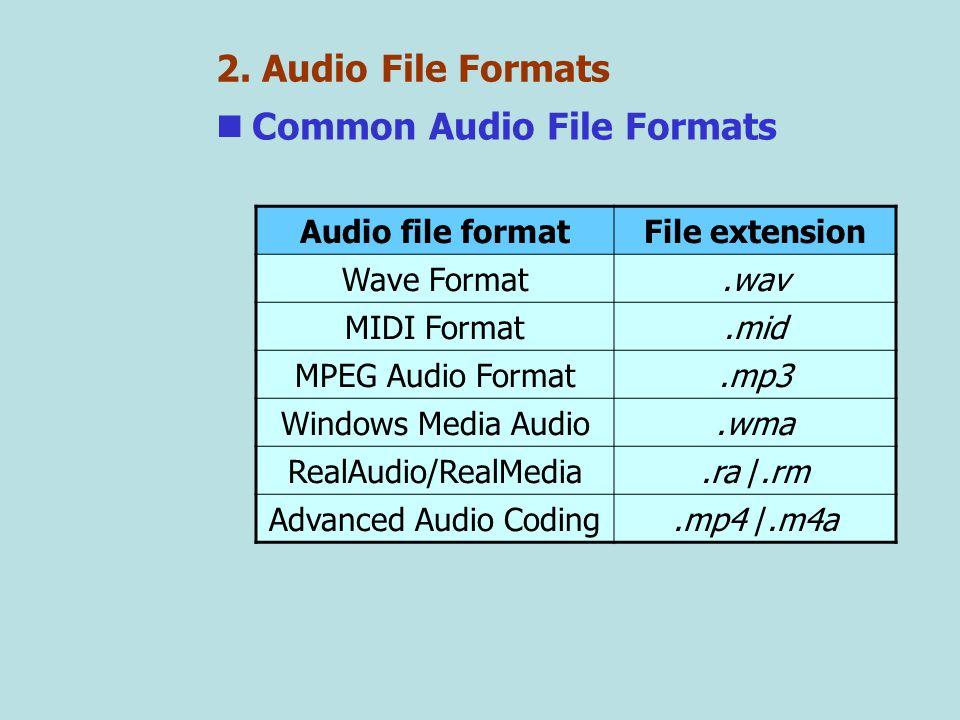 2. Audio File Formats Common Audio File Formats Audio file formatFile extension Wave Format.wav MIDI Format.mid MPEG Audio Format.mp3 Windows Media Au