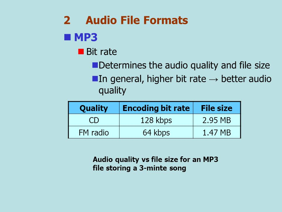 2 Audio File Formats MP3 Streaming A technology in which the downloaded portion of an audio file can be played immediately MP3 supports streaming Playing MP3 with Windows Media Player MP3 playing software Mobile MP3 players