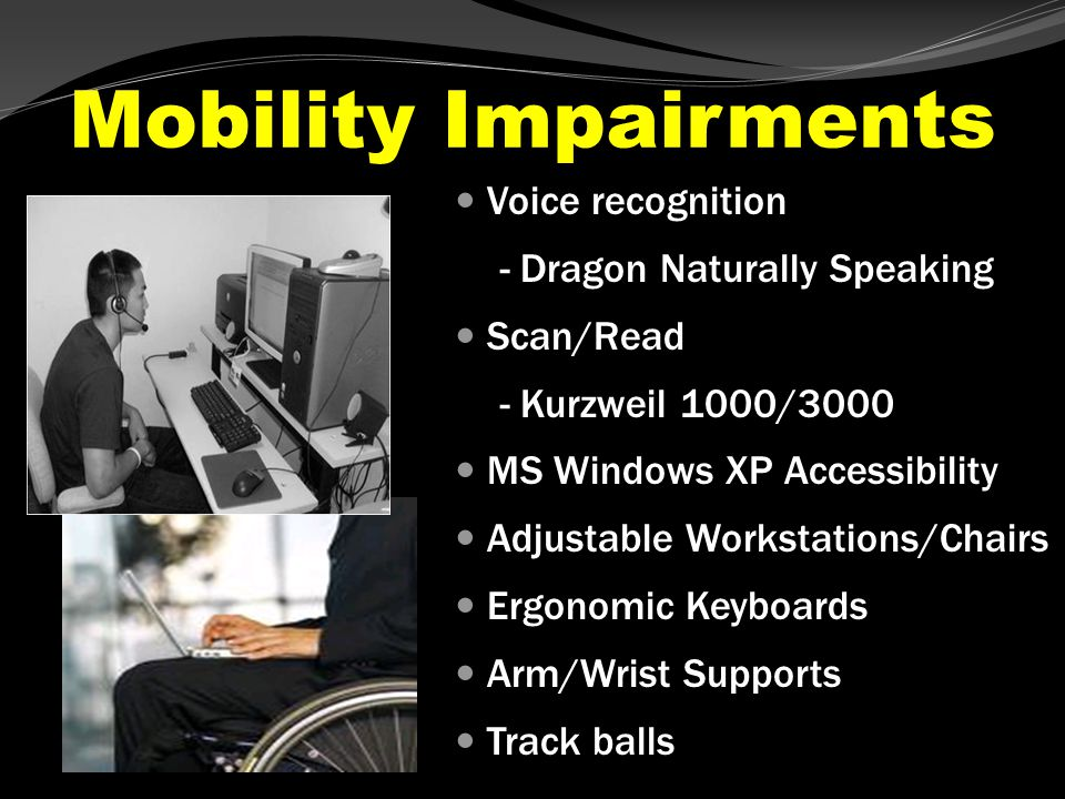 Learning Disability Outline/Mind mapping – Inspiration Text to Speech Software – TextAloud MP3 Text to Speech Reading Device – Ovation Scan/Read – Kurzweil 1000/3000 – Conversion to MP3 Voice Recognition – Dragon Naturally Speaking Portable Daisy Players (RFB&D) – Victor/VIBE Reader
