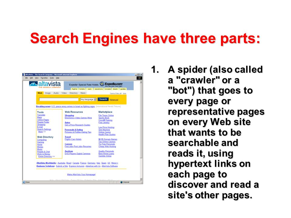 Search Engines have three parts: 1.A spider (also called a crawler or a bot ) that goes to every page or representative pages on every Web site that wants to be searchable and reads it, using hypertext links on each page to discover and read a site s other pages.