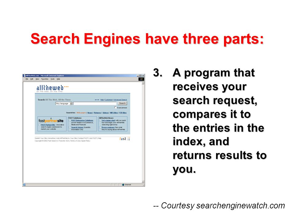 Search Engines have three parts: 3.A program that receives your search request, compares it to the entries in the index, and returns results to you.
