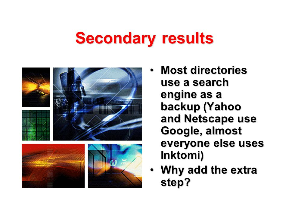 Secondary results Most directories use a search engine as a backup (Yahoo and Netscape use Google, almost everyone else uses Inktomi)Most directories use a search engine as a backup (Yahoo and Netscape use Google, almost everyone else uses Inktomi) Why add the extra step?Why add the extra step?