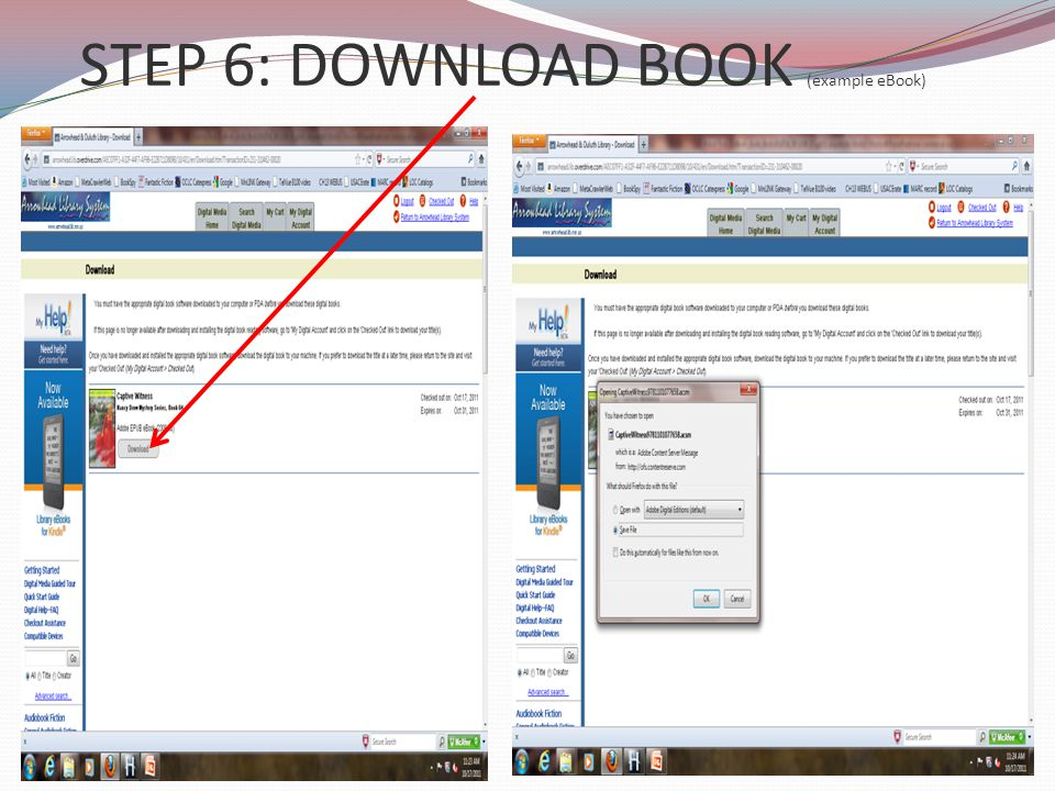 STEP 6: DOWNLOAD BOOK (example eBook)