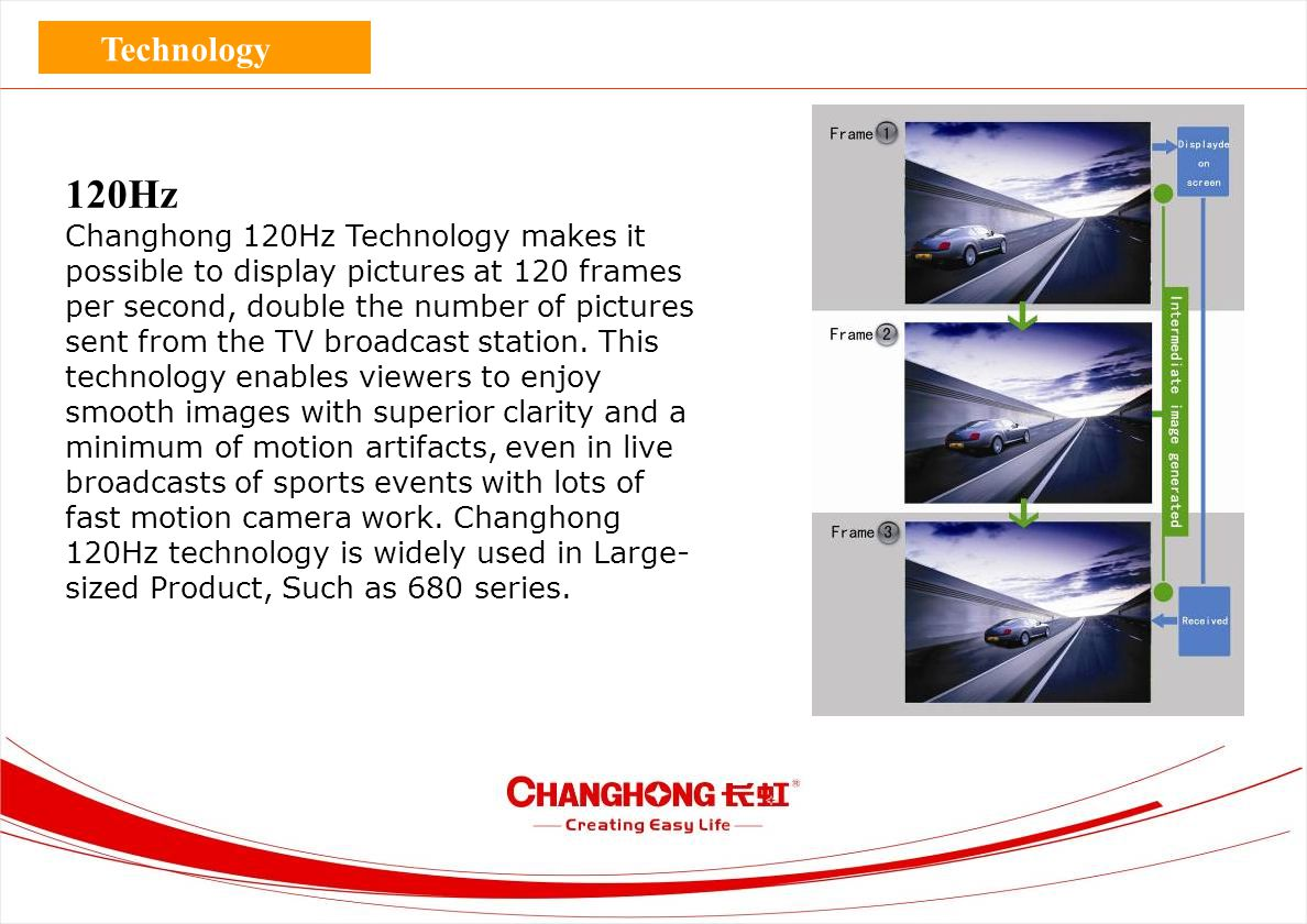 120Hz Changhong 120Hz Technology makes it possible to display pictures at 120 frames per second, double the number of pictures sent from the TV broadc