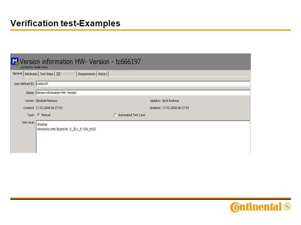 Verification test-Examples