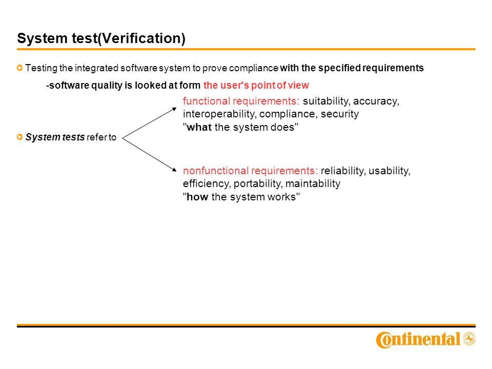 Types of tests Module tests (MP3 Player, GPS, HMI) - smoke tests Integration tests (e.g.
