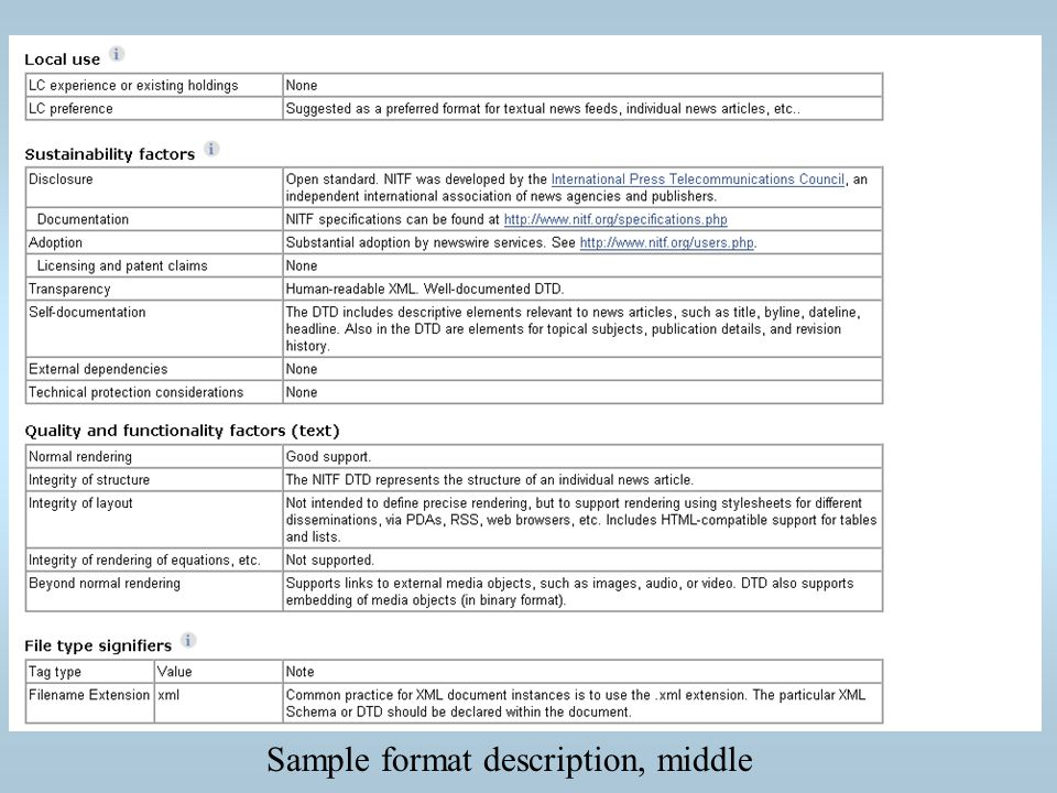 Sample format description, middle