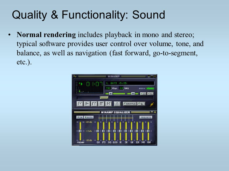 Quality & Functionality: Sound Normal rendering includes playback in mono and stereo; typical software provides user control over volume, tone, and balance, as well as navigation (fast forward, go-to-segment, etc.).