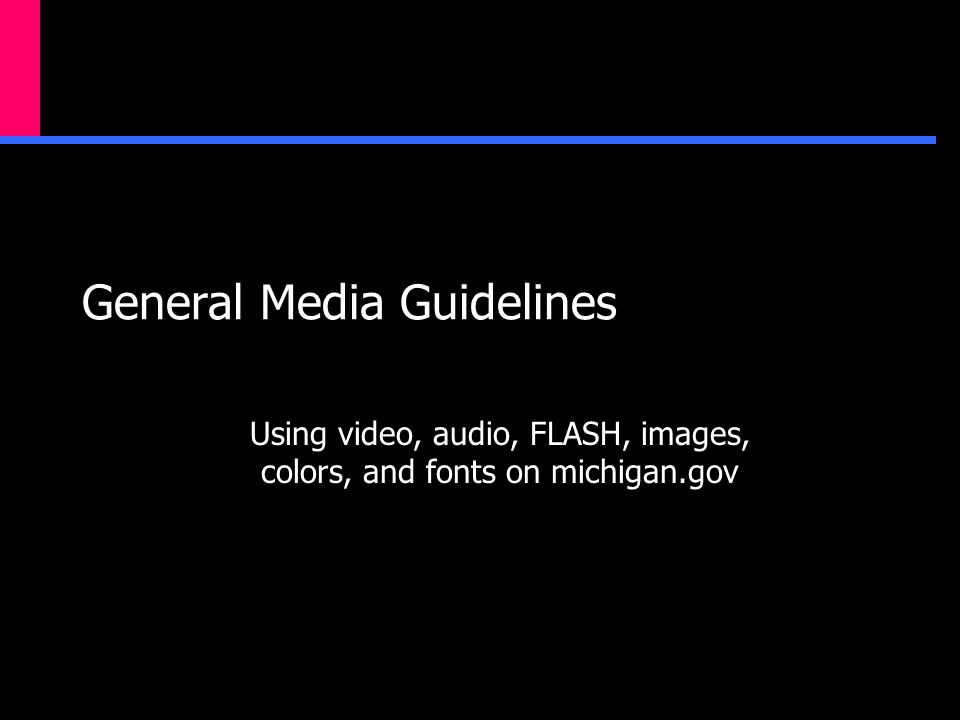 General Media Guidelines Using video, audio, FLASH, images, colors, and fonts on michigan.gov