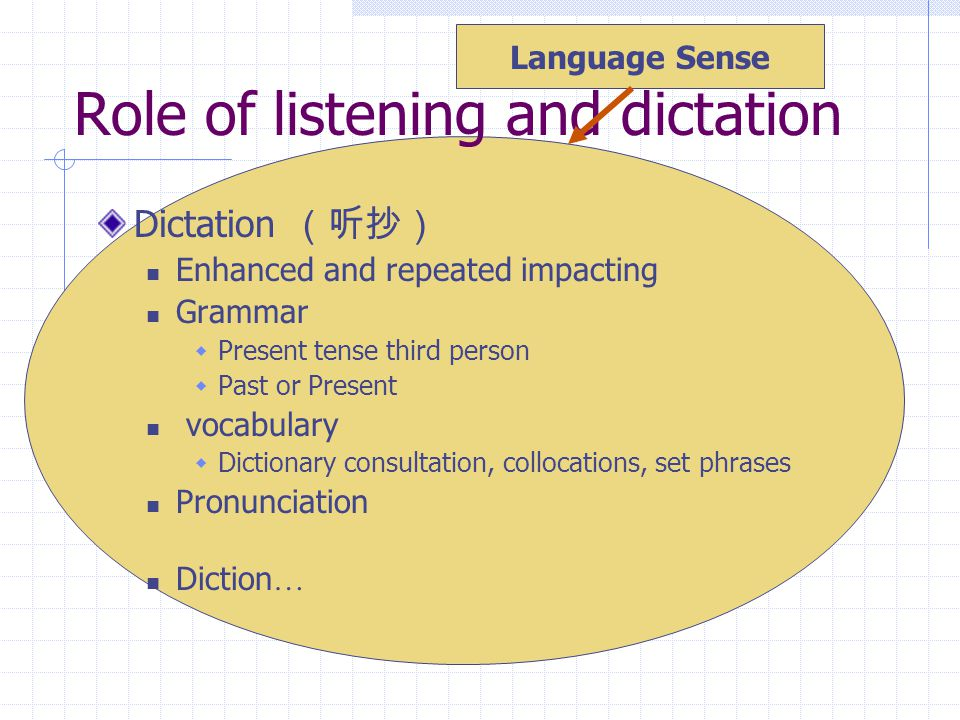 Role of listening and dictation Dictation (听抄) Enhanced and repeated impacting Grammar  Present tense third person  Past or Present vocabulary  Dictionary consultation, collocations, set phrases Pronunciation Diction … Language Sense