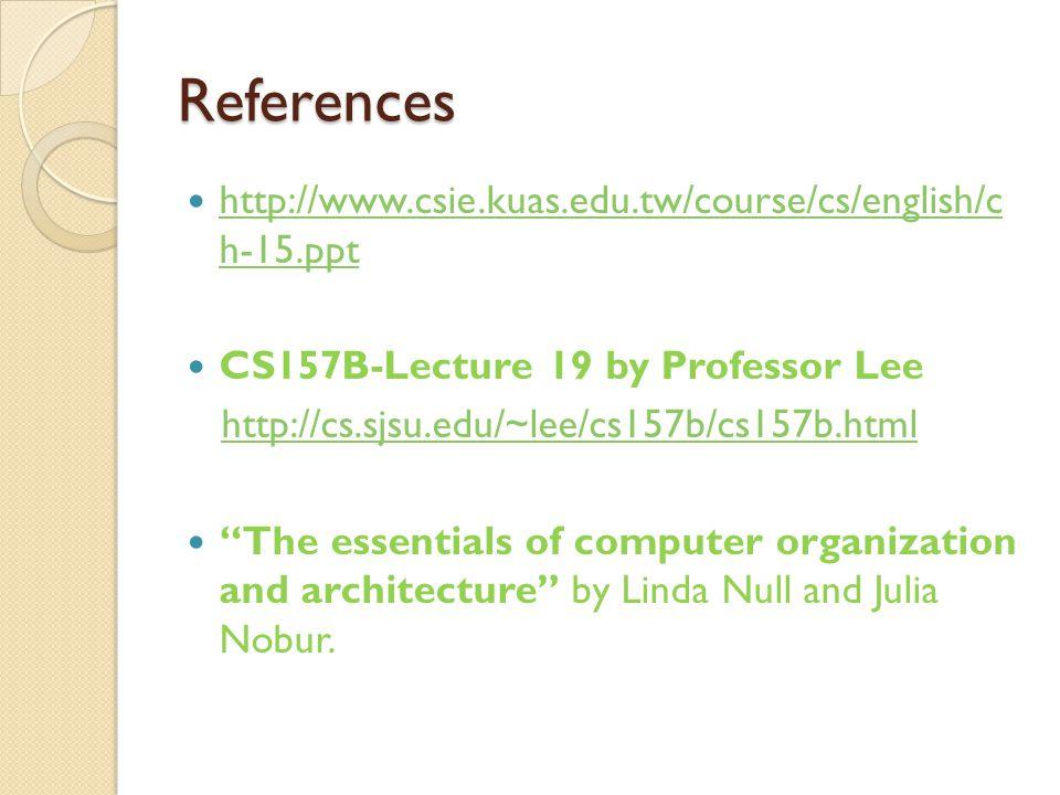 References http://www.csie.kuas.edu.tw/course/cs/english/c h-15.ppt http://www.csie.kuas.edu.tw/course/cs/english/c h-15.ppt CS157B-Lecture 19 by Prof