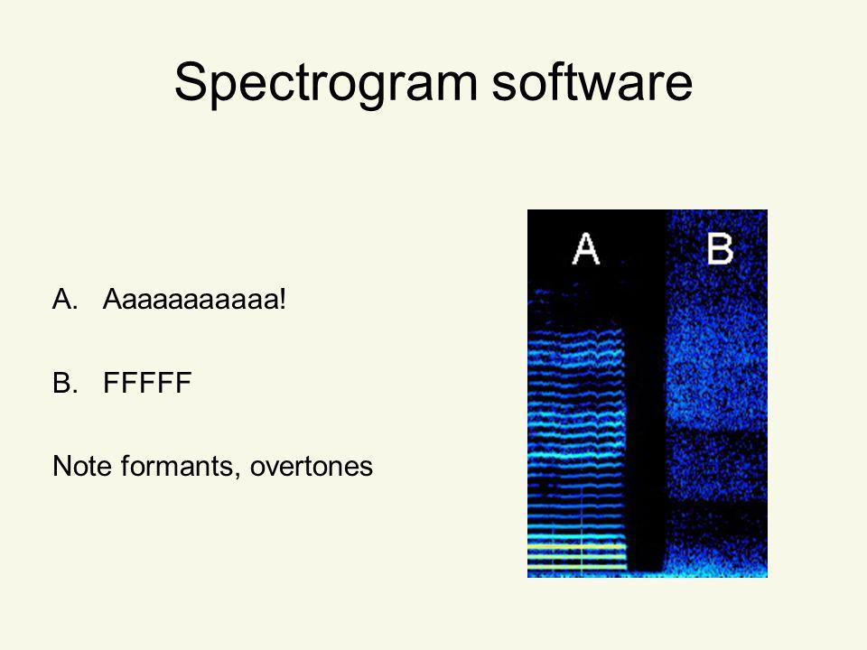 Spectrogram software A.Aaaaaaaaaaa! B.FFFFF Note formants, overtones