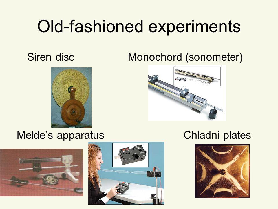 Old-fashioned experiments Siren discMonochord (sonometer) Melde's apparatusChladni plates
