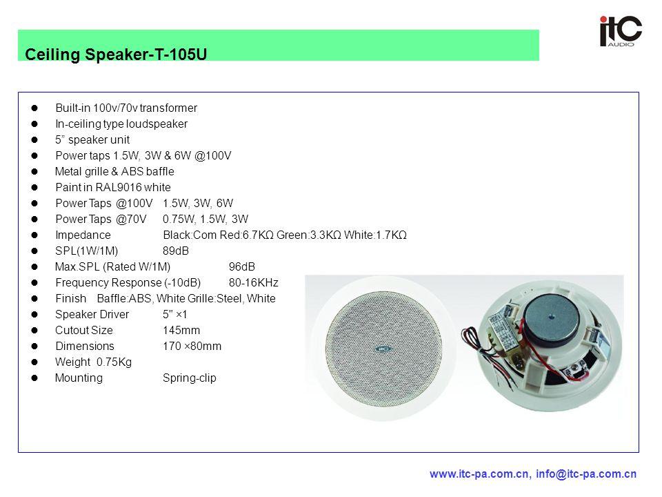 "Built-in 100v/70v transformer In-ceiling type loudspeaker 5"" speaker unit Power taps 1.5W, 3W & 6W @100V Metal grille & ABS baffle Paint in RAL9016 wh"