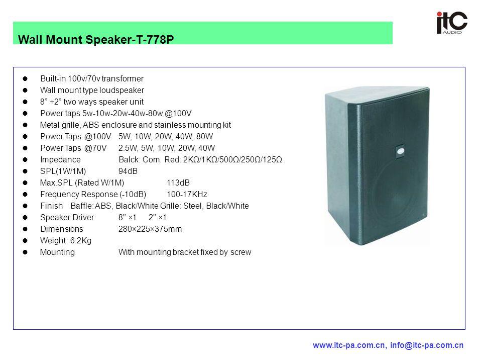 "Built-in 100v/70v transformer Wall mount type loudspeaker 8"" +2"" two ways speaker unit Power taps 5w-10w-20w-40w-80w @100V Metal grille, ABS enclosure"