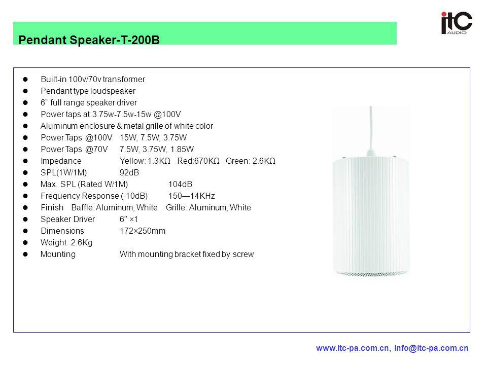 """Built-in 100v/70v transformer Pendant type loudspeaker 6"""" full range speaker driver Power taps at 3.75w-7.5w-15w @100V Aluminum enclosure & metal gril"""