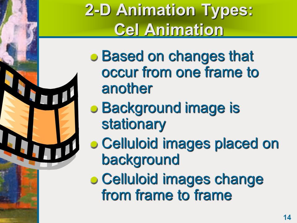 13 2-D Animation Issues Movement is made up of many still images Each still image has its own frame Speed of moving these frames: –Movies on film: 24 fps –Television: 30 fps –Computer animation: 12-15 fps