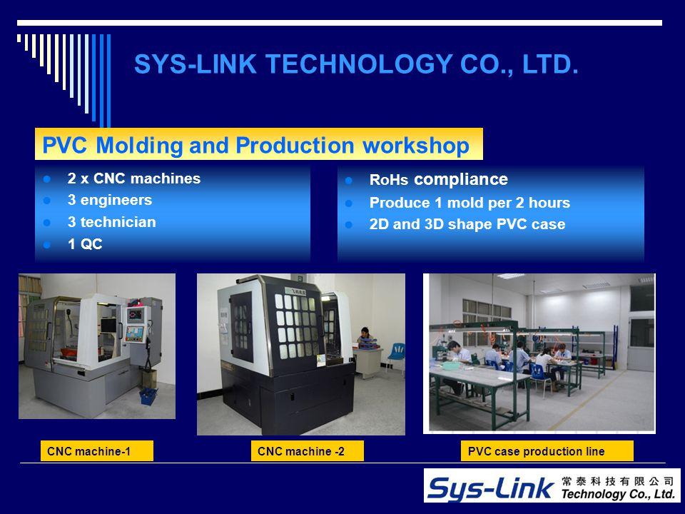 PVC Molding and Production workshop 2 x CNC machines 3 engineers 3 technician 1 QC SYS-LINK TECHNOLOGY CO., LTD. CNC machine-1 RoHs compliance Produce