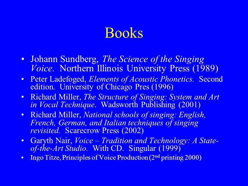 Books Johann Sundberg, The Science of the Singing Voice.