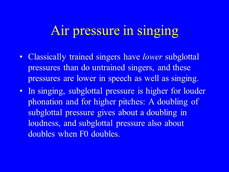 Sundberg: airflow vs. pitch sound level (S), subglottal pressure (P) and oral airflow (A) from a professional singer's ascending scale, showing that p