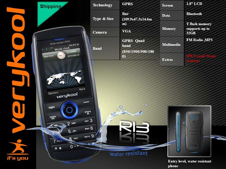 "Shipping Technology GPRS Type & Size Bar (109.9x47.3x14.6m m) Camera VGA Band GPRS Quad band (850/1900/900/180 0) Screen 1.8"" LCD Data Bluetooth Memor"