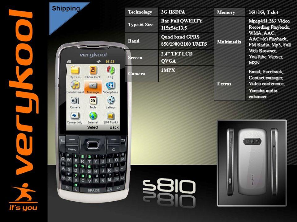 "America Movil Shipping Technology 3G HSDPA Type & Size Bar Full QWERTY 115x54x13.5 Band Quad band GPRS 850/1900/2100 UMTS Screen 2.4"" TFT LCD QVGA Cam"