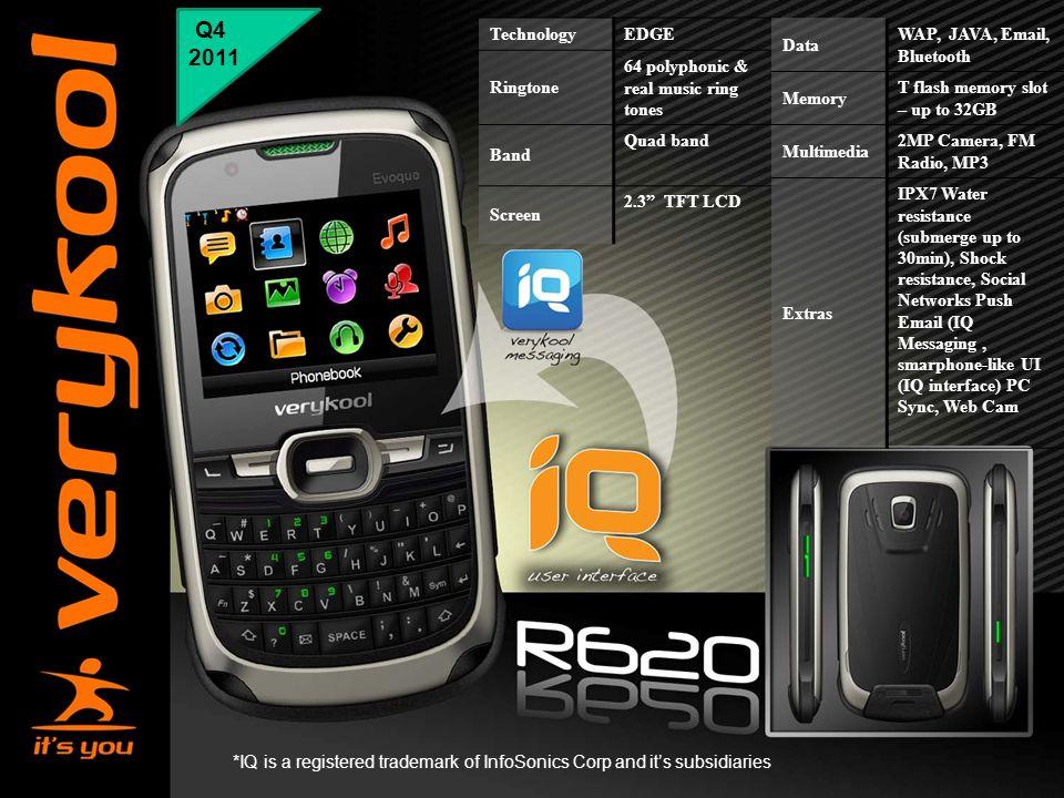 "Q4 2011 Technology EDGE Ringtone 64 polyphonic & real music ring tones Band Quad band Screen 2.3"" TFT LCD Data WAP, JAVA, Email, Bluetooth Memory T fl"