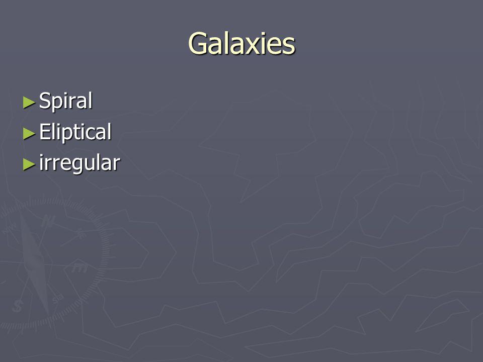 Galaxies ► Spiral ► Eliptical ► irregular