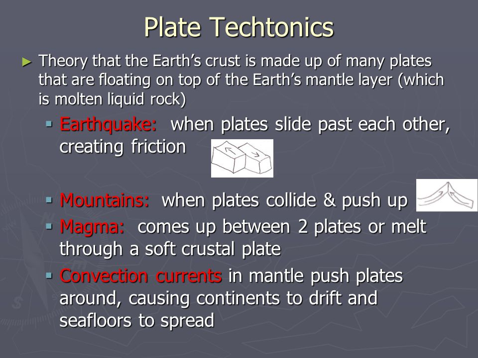 Plate Techtonics ► Theory that the Earth's crust is made up of many plates that are floating on top of the Earth's mantle layer (which is molten liqui