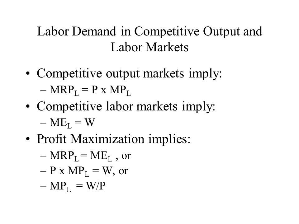 Monopsony in the labor market: –Π max.
