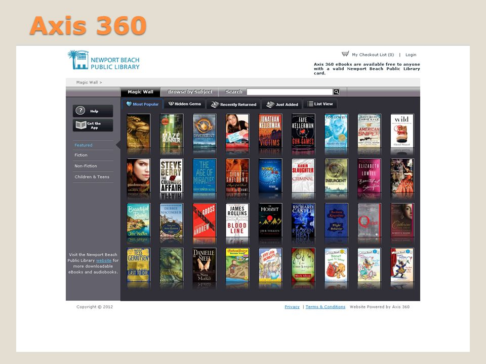 eBook formats available: ◦Blio (software required) ◦ePub/PDF (Adobe Digital Editions/Adobe ID required) Account required ◦Free.