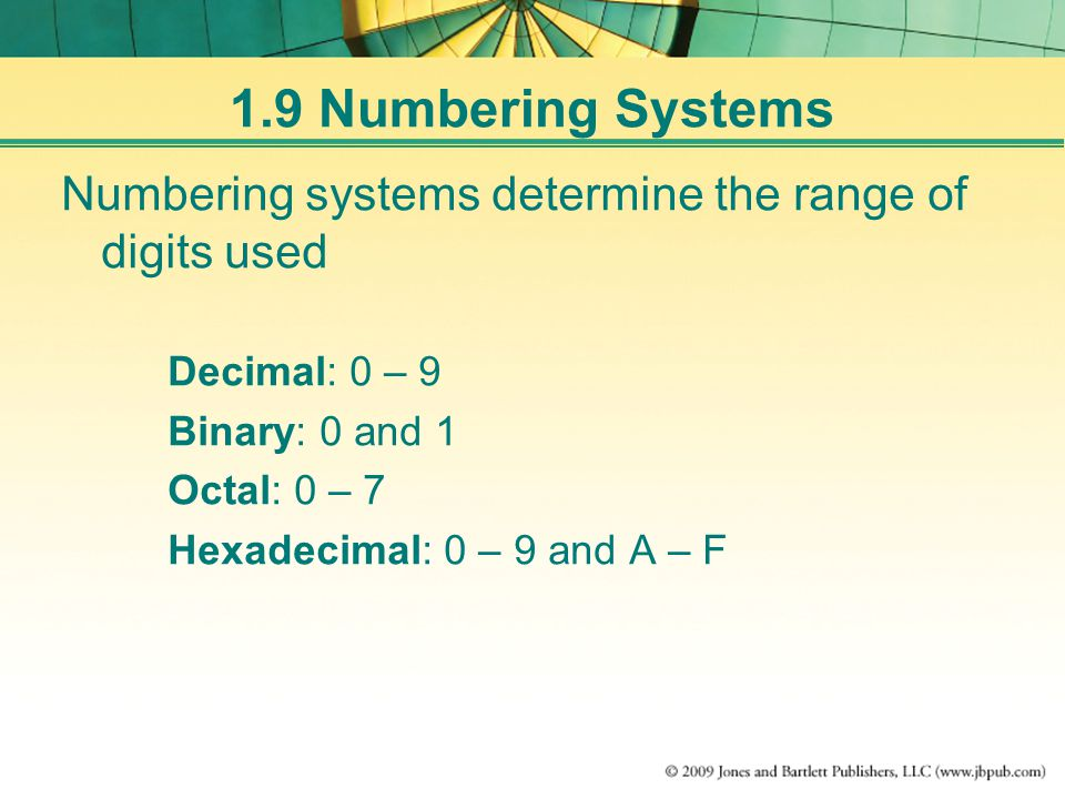 1.9 Numbering Systems Numbering systems determine the range of digits used Decimal: 0 – 9 Binary: 0 and 1 Octal: 0 – 7 Hexadecimal: 0 – 9 and A – F