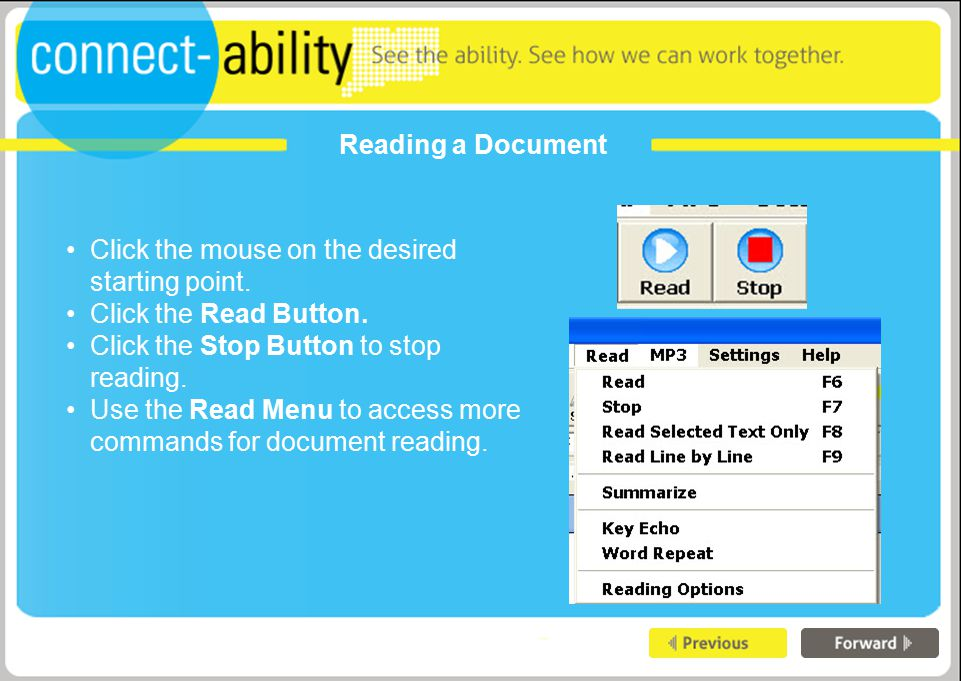 Reading a Document Click the mouse on the desired starting point.