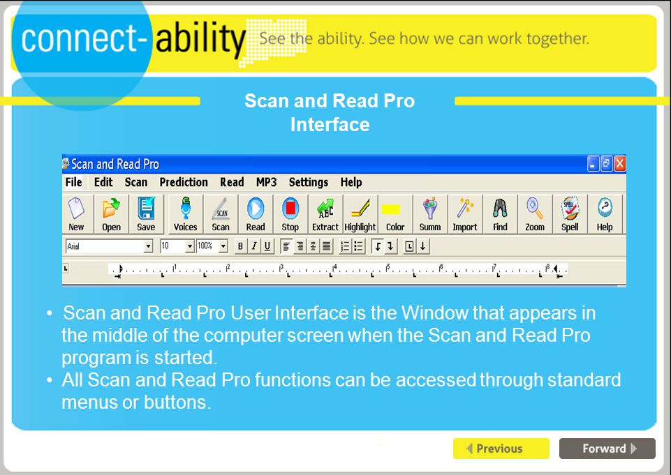 Scan and Read Pro Interface Scan and Read Pro User Interface is the Window that appears in the middle of the computer screen when the Scan and Read Pro program is started.