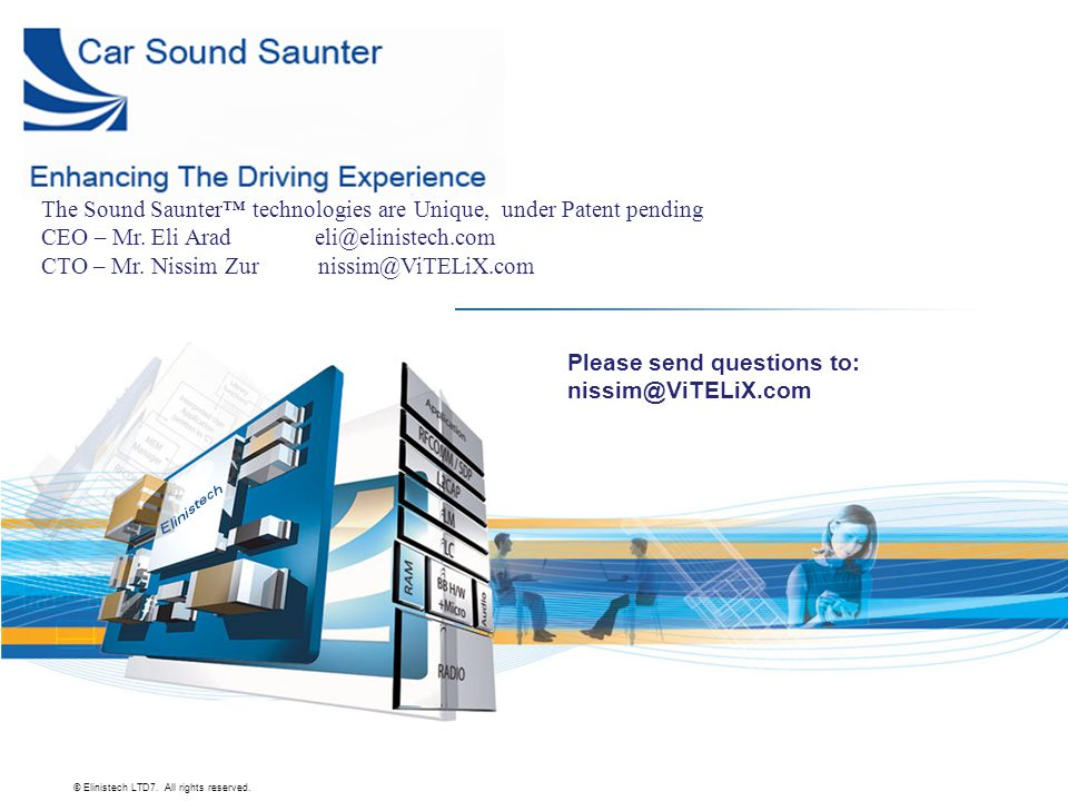 © Elinistech LTD7. All rights reserved. Please send questions to: nissim@ViTELiX.com The Sound Saunter™ technologies are Unique, under Patent pending