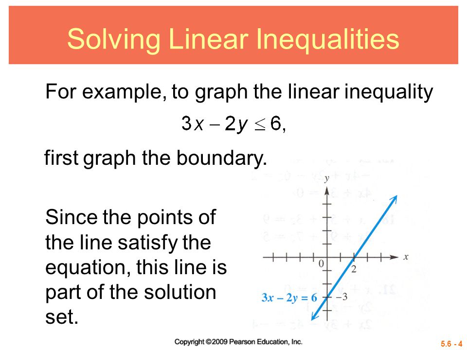 5.6 - 5 Solving Linear Inequalities To decide which half-plane (the one above the line 3x – 2y = 6 or the one below the line) is part of the solution set, solve the original inequality for y.